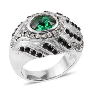 Green, White & Black Austrian Crystal Ring Size 7